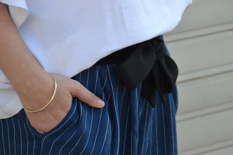 short en coton rayé H&M et ceinture en coton  noir