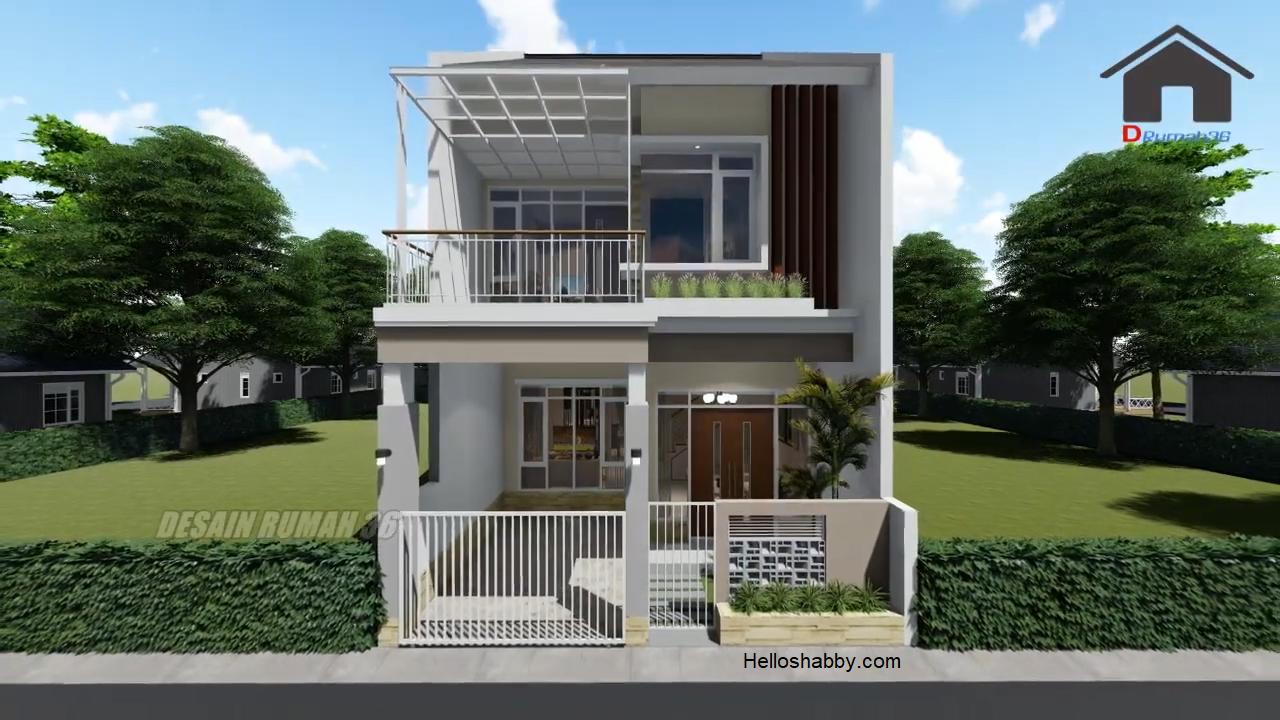 Desain Rumah Modern Terbaru Ukuran 6 X 14 M 2 Lantai Dengan 4 Kamar Tidur Dan Balkon Luas Helloshabby Com Interior And Exterior Solutions