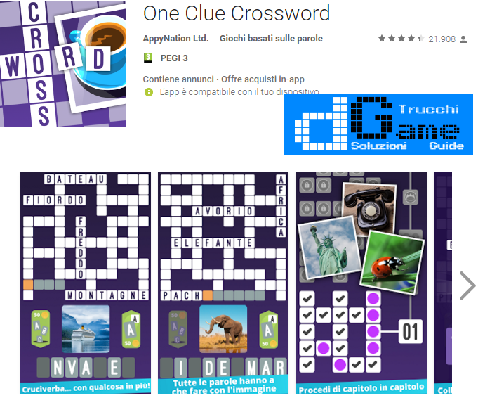 Soluzioni One Clue Crossword di tutti i livelli | Walkthrough guide