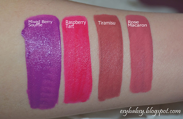 jordana-sweet-cream-matte-lip-color-review-rose-macaron-tiramisu-mixed-berry-shouffle-raspberry-tart-esybabsy