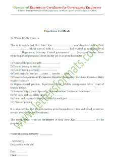 service certificate format for government employees