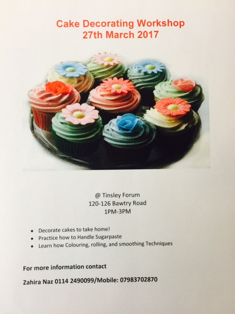 Cake decorating workshop at Tinsley Forum Mon 27 Mar 1 - 3 pm