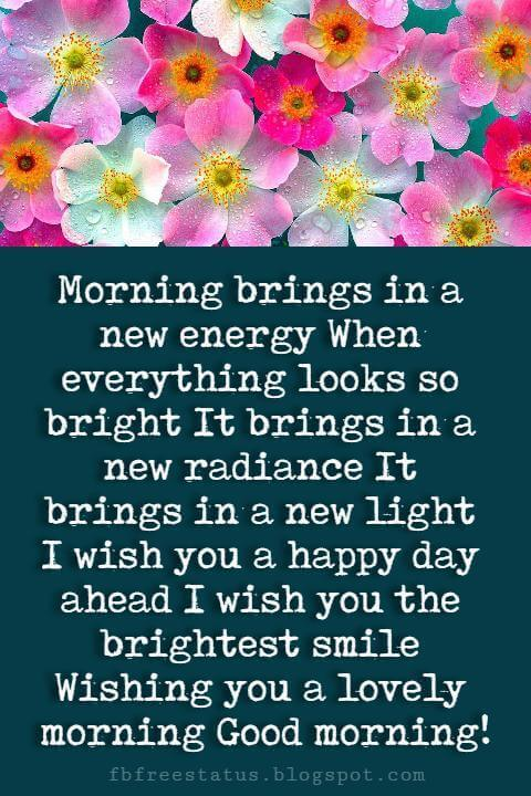 Good Morning Text Messages, Morning brings in a new energy When everything looks so bright It brings in a new radiance It brings in a new light I wish you a happy day ahead I wish you the brightest smile Wishing you a lovely morning Good morning!