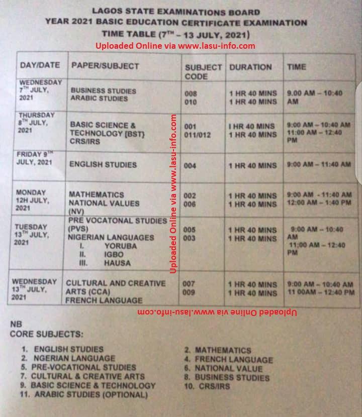 Lagos State BECE Timetable [7th - 14th July 2021]   JUNIOR WAEC