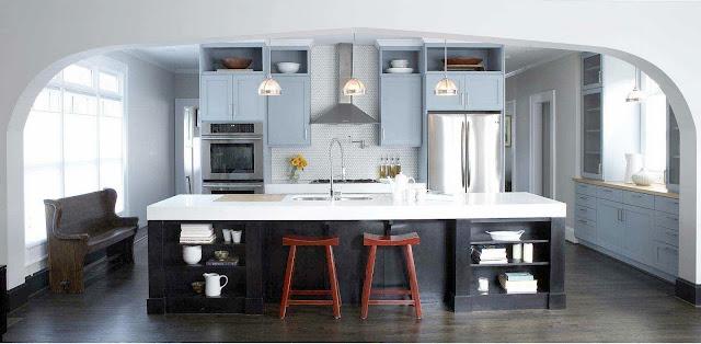 Navy Cabinets White Countertops Kitchen