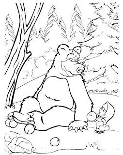 מאשה והדוב דפי צביעה