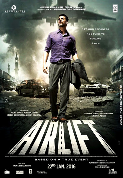 Airlift, movie poster, starring akshay kumar, nimrat kaur
