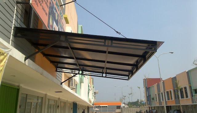 kanopi gantung baja ringan contoh gambar desain tanpa tiang