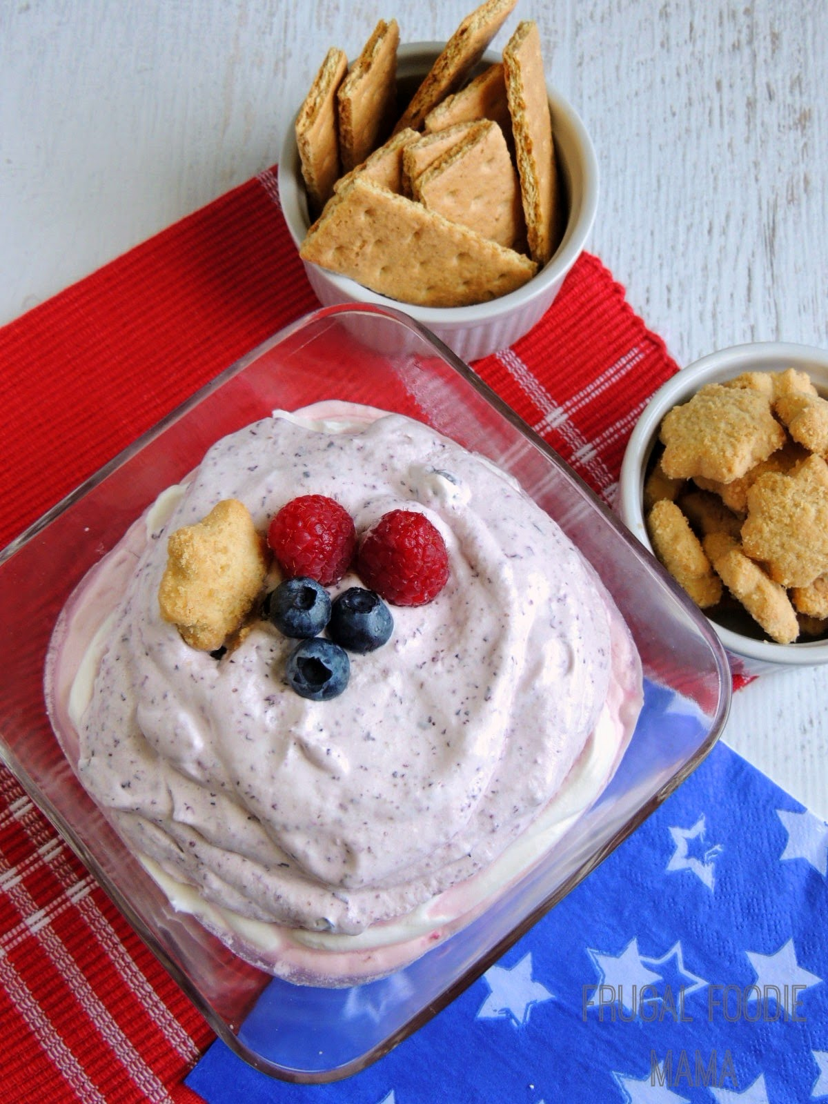 Red, Light, and Berry Dessert Dip via thefrugalfoodiemama.com #4thofJuly #lowfat