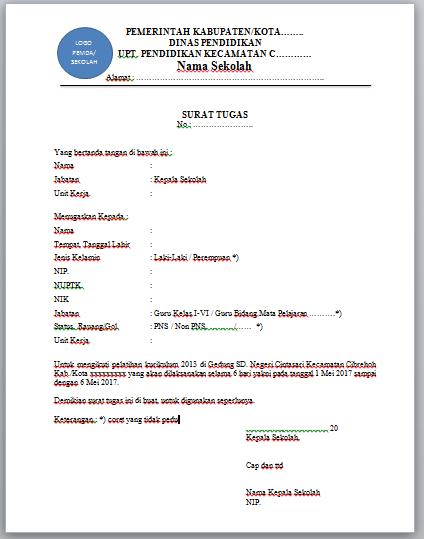 Contoh Surat Tugas Pelatihan Kurikulum 2013 Dari Kepala
