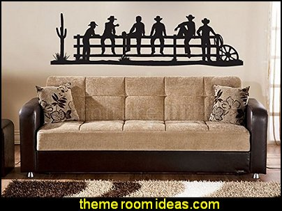 Cowboys Sitting on Fence Vinyl Wall Decal Sticker Graphic