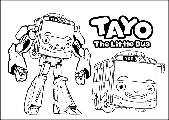 Inilah  Gambar Mewarnai Tayo The Little Bus