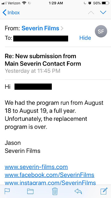 Jason from Severin Films' explains that THE CHANGELING replacement disc program is over.