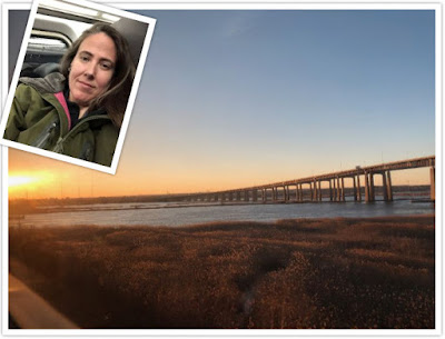 Sunset photo out my train window and a selfie of me on the train.