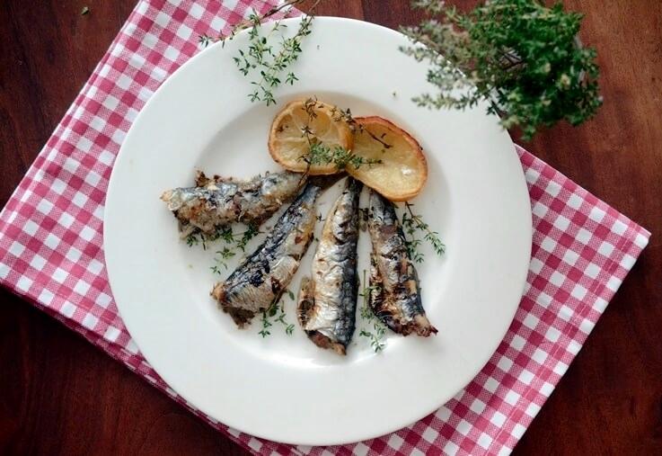Sardinas al horno con limón y tomillo