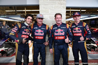 Carlos Sainz and Max Verstappen with Jos Verstappen and Carlos Sainz Red Bull Racing