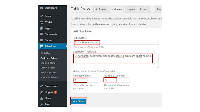 Cara membuat tabel HTML di Wordpress