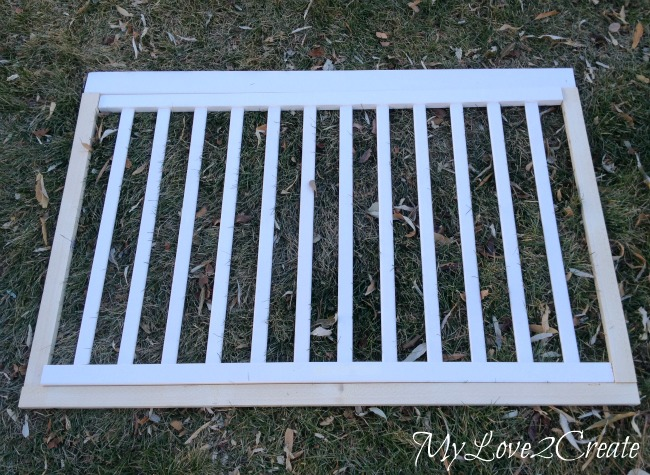 laying out crib rails for dog crate