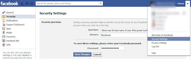 set security question on your facebook account