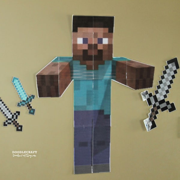 """Play """"pin the sword on Minecraft Steve"""" for the perfect Minecraft party game!"""