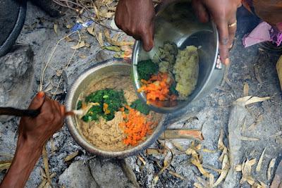 The makings of vegetable porridge