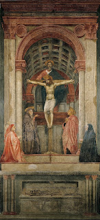 The Trinity by Masaccio was one of the first paintings to convey perspective.