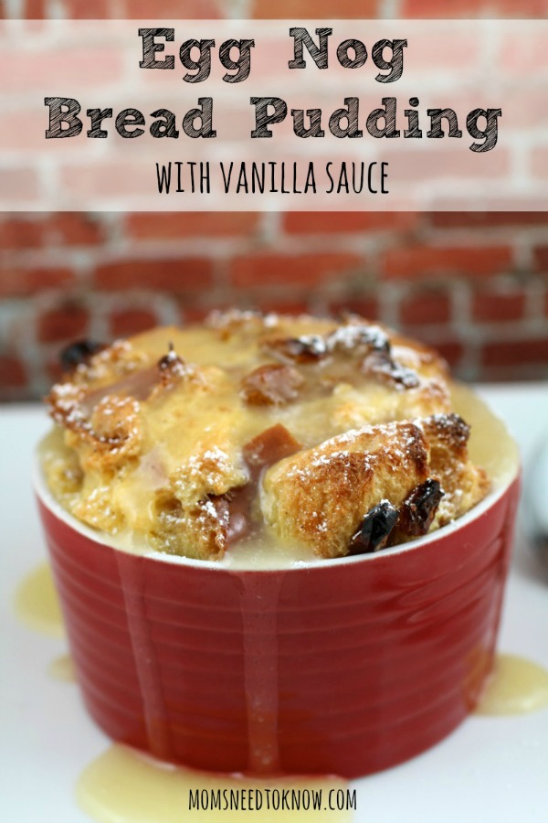 Egg Nog Bread Pudding Recipe from Moms Need to Know