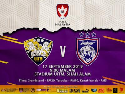 Live Streaming Uitm vs JDT (Piala Malaysia) 17.8.2019