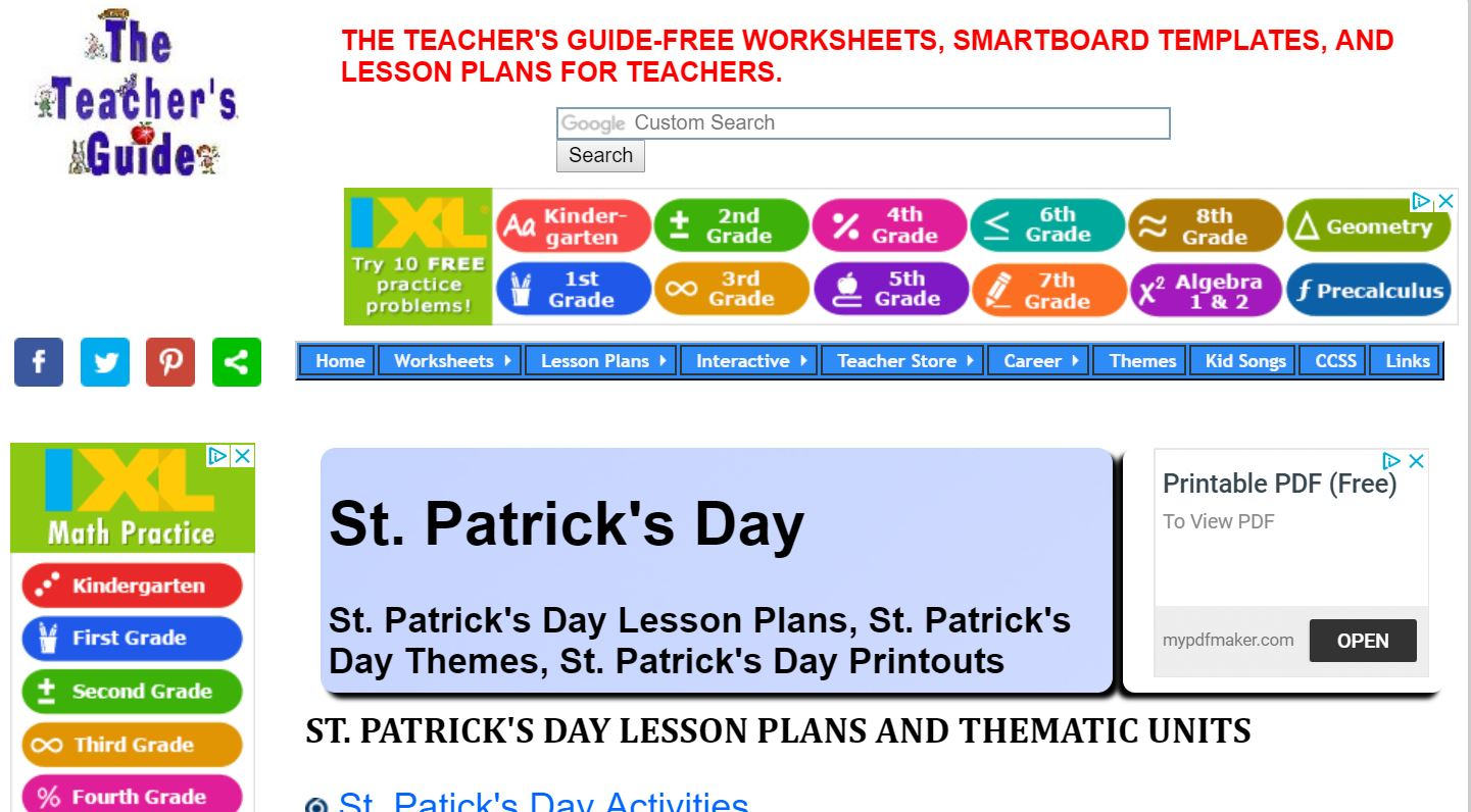Free Teacher Printables, Worksheets, Reproducibles and Resources