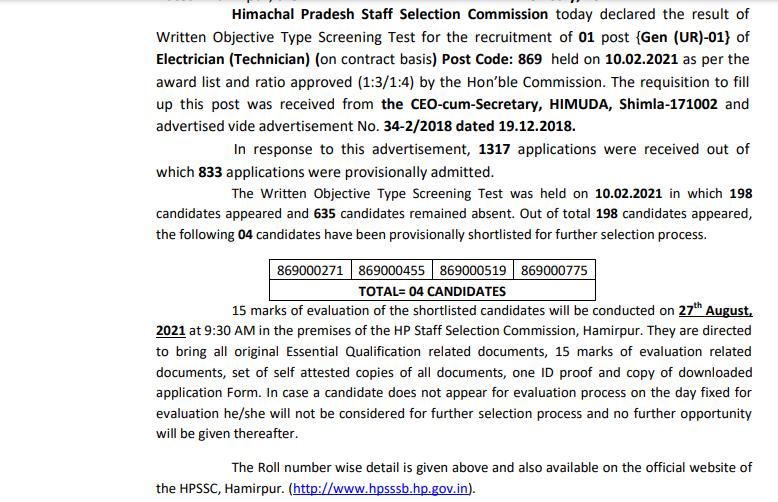 HPSSC Electrician (Technician) Post Code: 869 Result 2021