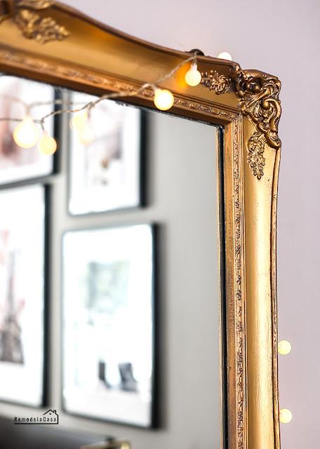 Gold mirror in Paris room