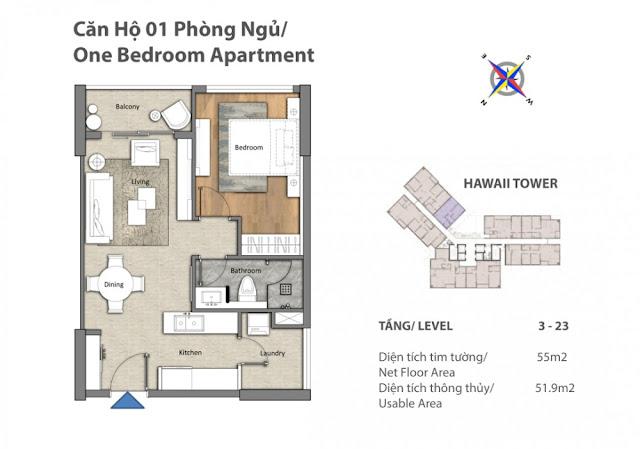 căn hộ 1 phòng ngủ tháp Hawaii dự án căn hộ Đảo Kim Cương