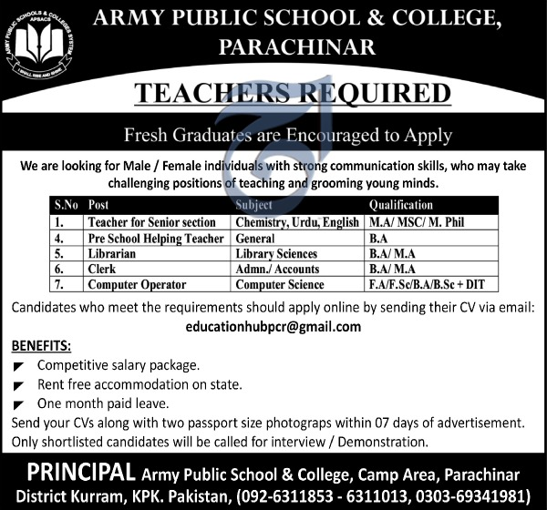 Advertisement for Army Public School and College Jobs