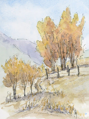 art autumn sketch landscape pen watercolor fall season