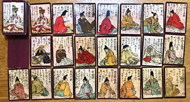 ANTICHE CARTE DA GIOCO GIAPPONESI, HYAKUNIN ISSHU UTA KARUTA XVIII SECOLO (1750 CA.) NO TAROCCHI