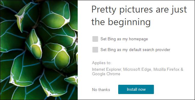 مثبت خلفيات Bing على Windows 10.