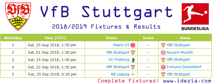 Baixar calendário completo PNG JPG VfB Stuttgart 2018-2019