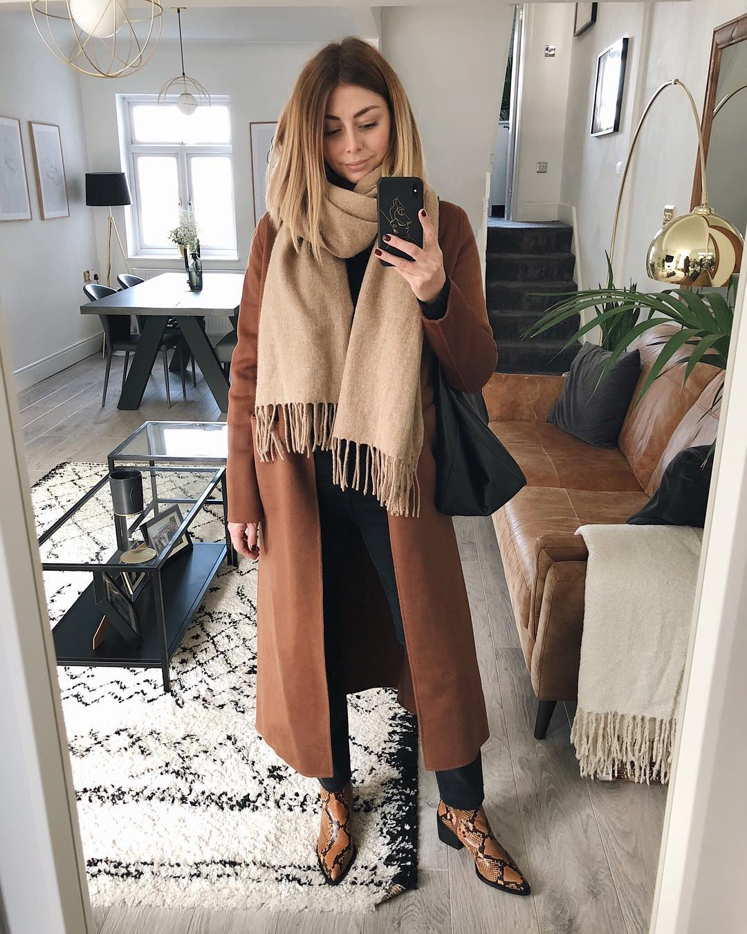 Meet the Oufit We Could Live In All Winter Long — Emma Hill Brown Coat, Camel Scarf, Black Straight-Leg Jeans, and Snake-Print Booties
