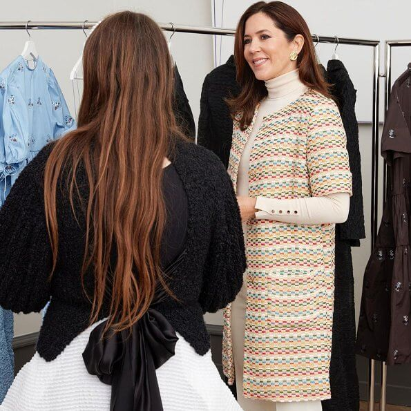 Crown Princess Mary wore a jimi clorfull tweed jacket by YDE, and a cream turtleneck sweater by Zara, and nude pointed toe pumps by Zara