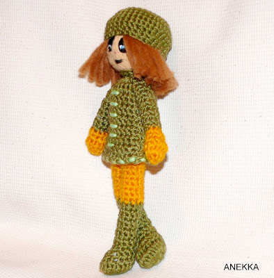 green crochet doll unique design