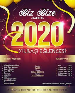 Biz Bize Garden İzmir Yılbaşı Programı 2020 Menüsü