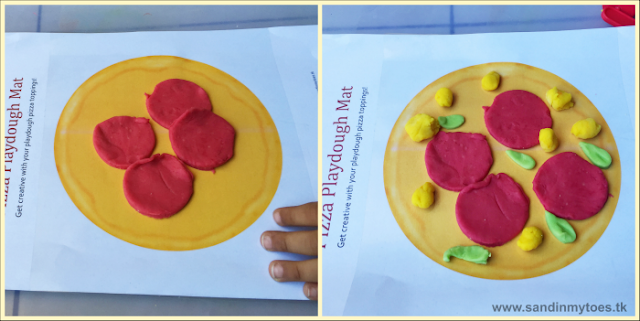 Making pizza toppings on a pizza play dough mat - download the free printable.
