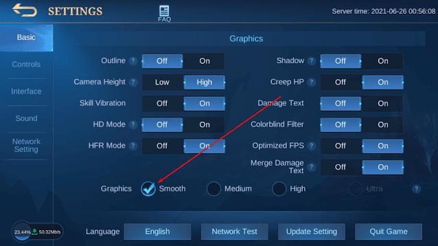 Turunkan Kualitas Grafis Mobile Legend ke Medium atau Smooth - Agar Mobile Legends Tidak Lag