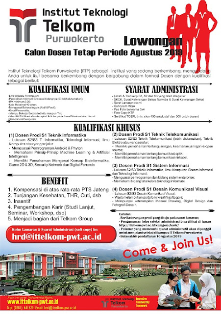 Lowongan Dosen Institut Teknologi Telkom Purwokerto Agustus 2019