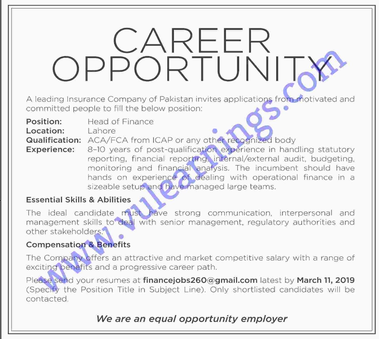 Job in A Leading Insurance Company