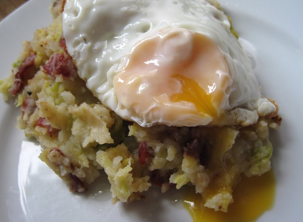 Bubble and Squeak with Bacon and Fried Egg