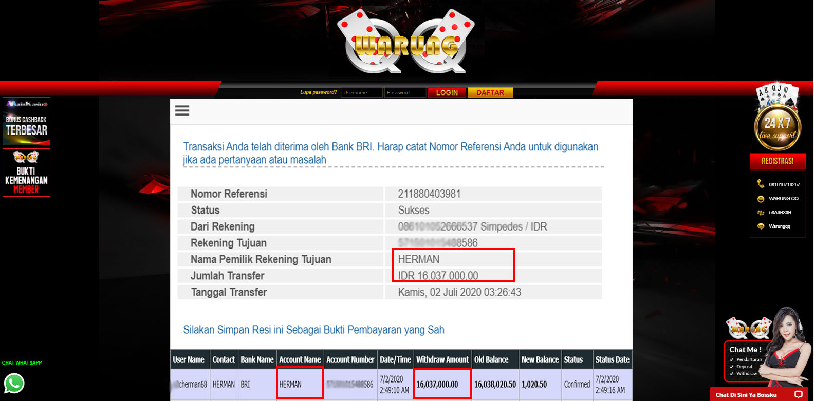 Selamat Kepada Member Setia WARUNGQQ Withdraw RP16.037.000