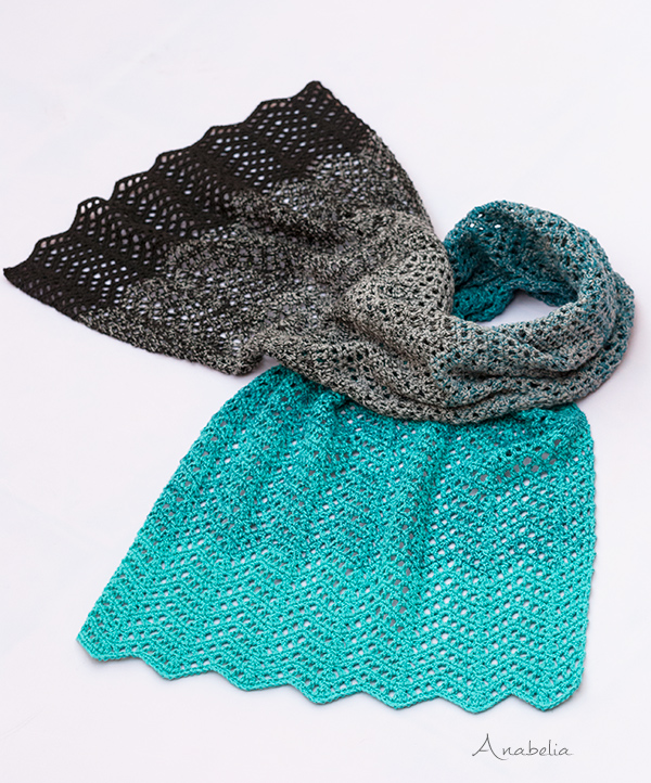 Light Chevron stitch scarf, free pattern by Anabelia Craft Design