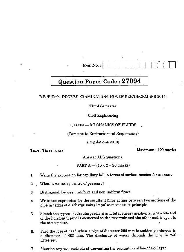 Anna besso nova : Fluid mechanics question paper