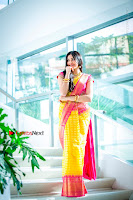 Actress Adah Sharma Exclusive Poshoot in Beautiful Yellow Silk Saree at Saree Niketan Showroom Launch  0003.jpg